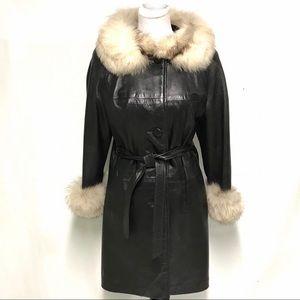 Vintage leather jacket with faux fur trim